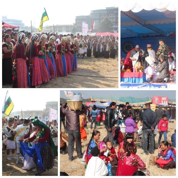 로사르 풍경. 둘리켈 터무(구릉)족 로사르에 전통 춤을 추는 사람들, 네팔 총리 올리도 단사에서 터무(구릉)족 전통 의상을 입고 있다. 가족들과 만나 어우러지는 모습도 정겹기만 하다. 사진=김형효
