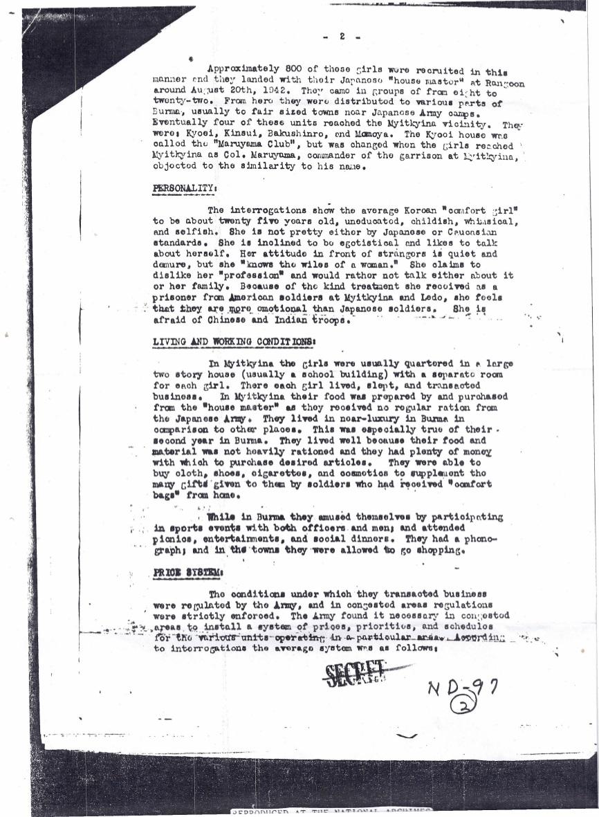 1944년 10월 1일 미군에 의한 버마 미치나의 한국인 일본군위안부 보고서 페이지 2 Japanese_Prisoner_of_War_Interrogation_Report_No._49_p2