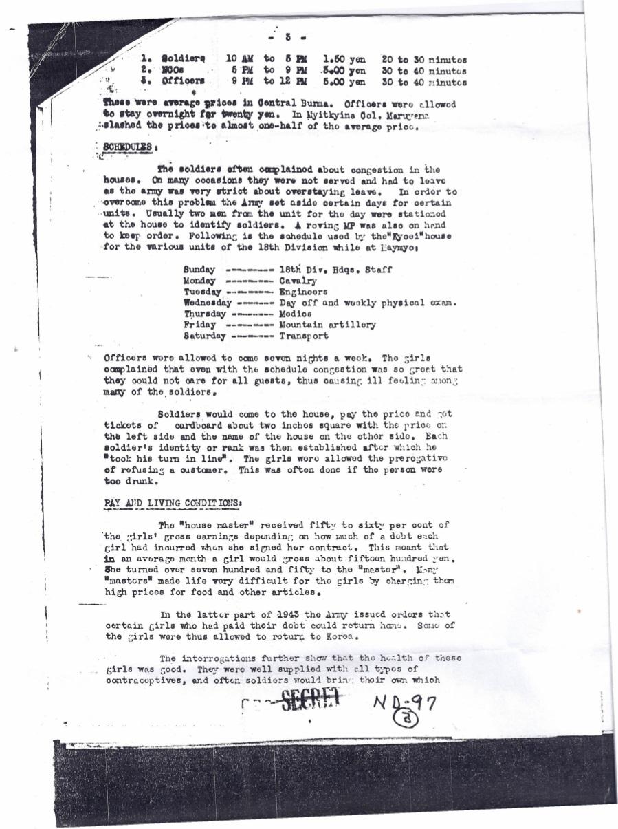 1944년 10월 1일 미군에 의한 버마 미치나의 한국인 일본군위안부 보고서 페이지 3 Japanese_Prisoner_of_War_Interrogation_Report_No._49_p3