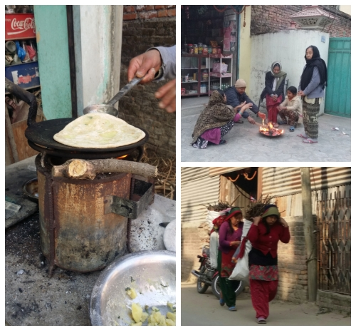 장작으로 일상을 사는 카트만두 사람들 한 식당에서 장작을 이용해 로띠를 굽고 있다. 사람들이 모여 불을 피우고 둘러앉았고 땔감을 구입한 사람들이 땔감을 운반하고 있다. 사진=김형효